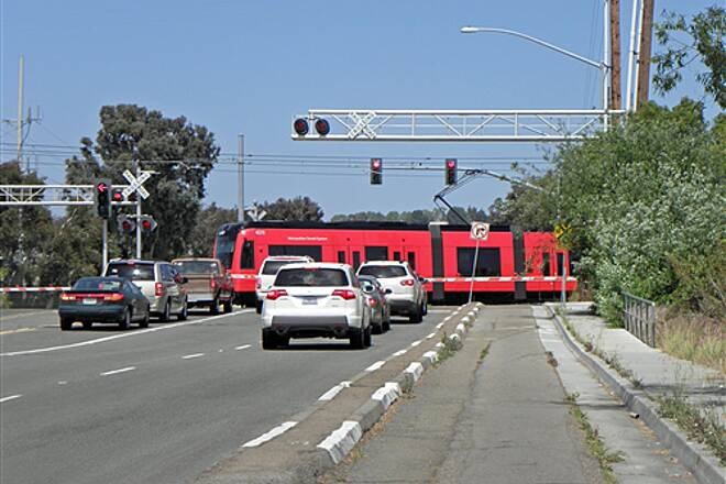 San Diego River Trail  Trolley crosses Friars Road at Napa Street.
