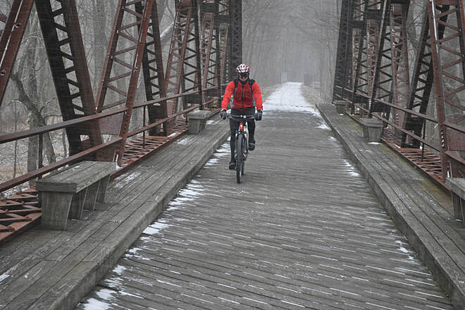San Francisquito Creek Trail Crossing the Wallkill Bridge over the Wallkill River, New Paltz NY. Wallkill Valley Railtrail.