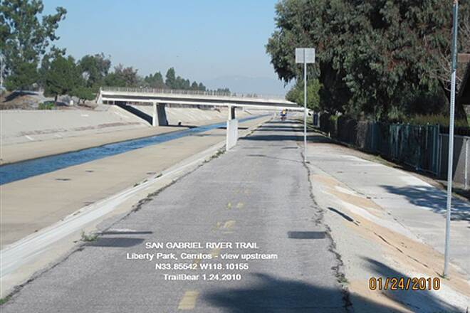 San Gabriel River Trail SAN GABRIEL RIVER TRAIL - LIBERTY PARK TO SOUTH Usual concrete flood control channel/river.