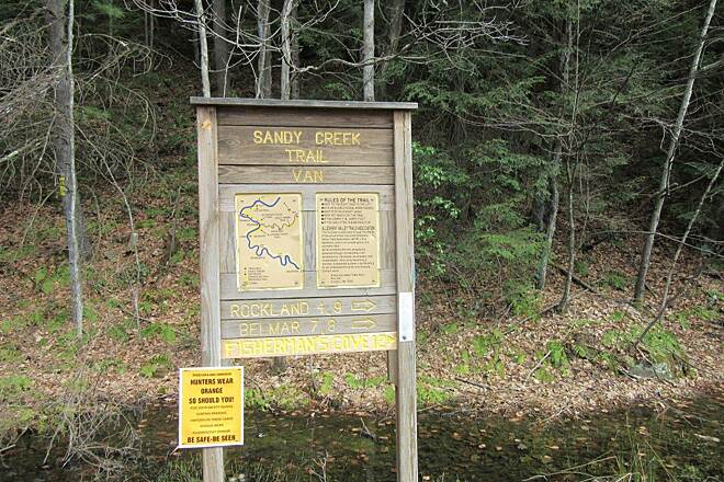 Sandy Creek Trail Sign in Van-April 2015 Sign at the trailhead in Van, PA
