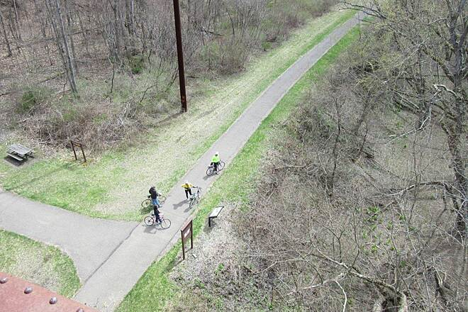 Sandy Creek Trail Alleg River Trail Below View of the Allegheny River Trail from the Belmar Bridge-April 2015