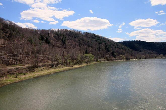 Sandy Creek Trail Allegheny River View of the Allegheny River from the Belmar Bridge.  You can also see the Allegheny River Trail -  April 2015