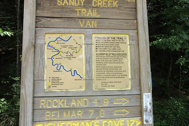 Sandy Creek Trail Van, PA  Van, Pa.  Trail runs from Van to Fishermans Cove.  PArking off Route 322 in Van.   July 2015