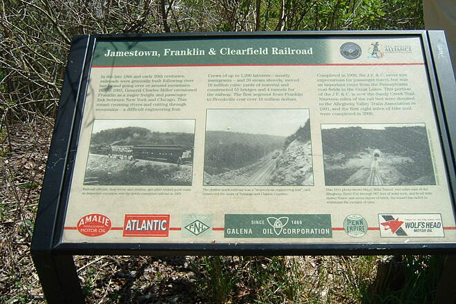 Sandy Creek Trail Railroad history signage Photo by Bob Youker