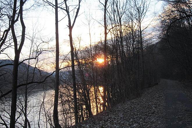 Sandy Creek Trail Sun setting along the river Sun setting along the Allegheny River, this is the section between Belmar and Fishermans Cove