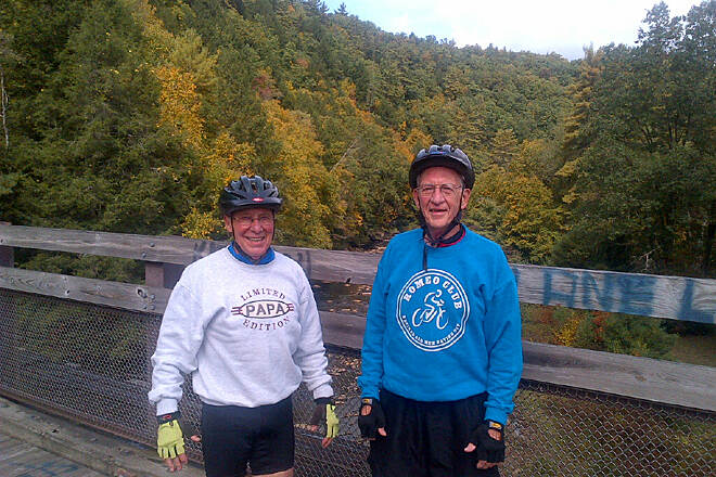Sandy Creek Trail Fred and Ken -  September 29,2012 A great autumn afternoon ride with two great guys that don't ride like they are a day over 60!  Picture is on the bridge east of the tunnel.