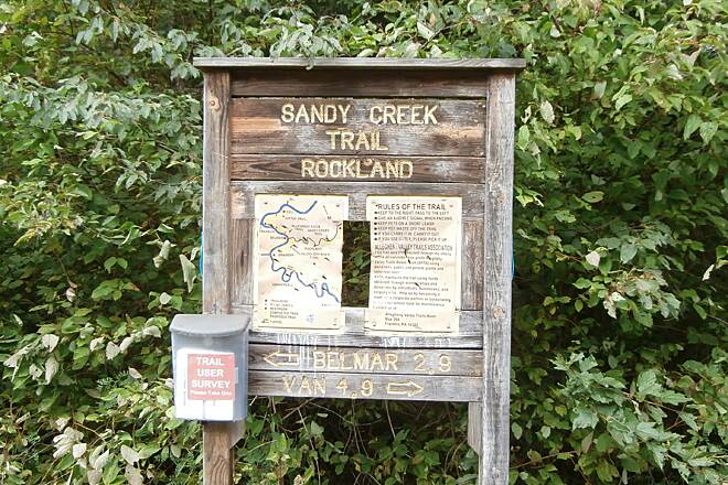 Sandy Creek Trail Rockland Sign August, 2013