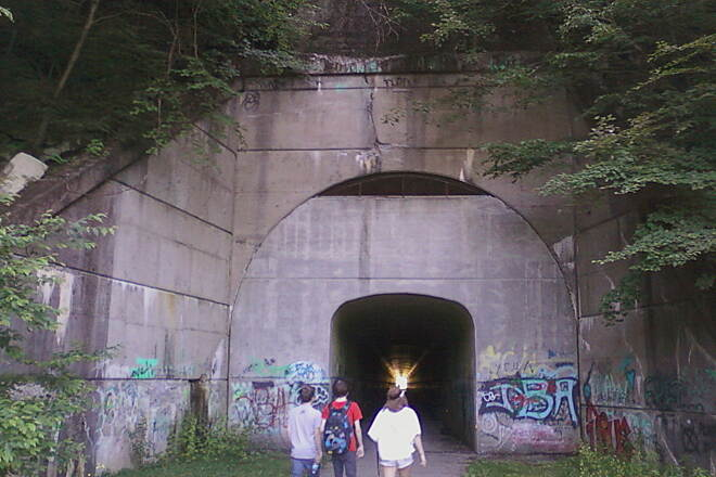 Sandy Creek Trail Mays Mill Tunnel-June 5 2014 East entrance of tunnel near Rockland, about a mile from parking area off SR 2013, Cranberry-Rockland Rd.