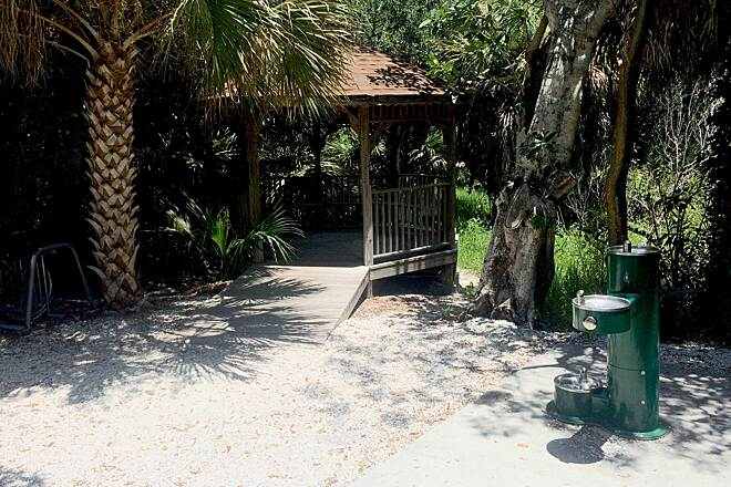 Sanibel Island Shared-Use Paths shady rest pagodas on path to Captiva
