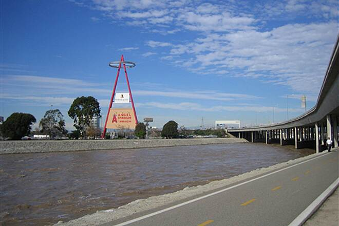 Santa Ana River Trail Santa Ana River Trail at Angels Stadium after storm