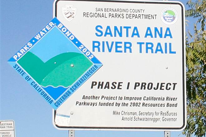 Santa Ana River Trail SART Signpost in San Bernardino section