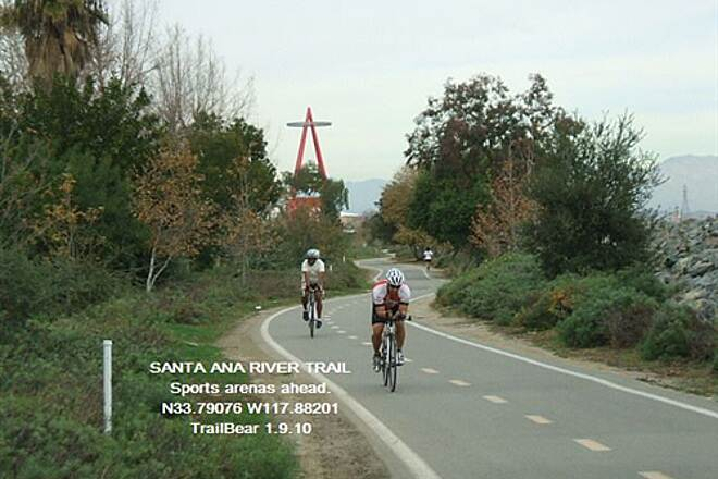 Santa Ana River Trail Santa Ana River Trail Angles Stadium ahead and more.