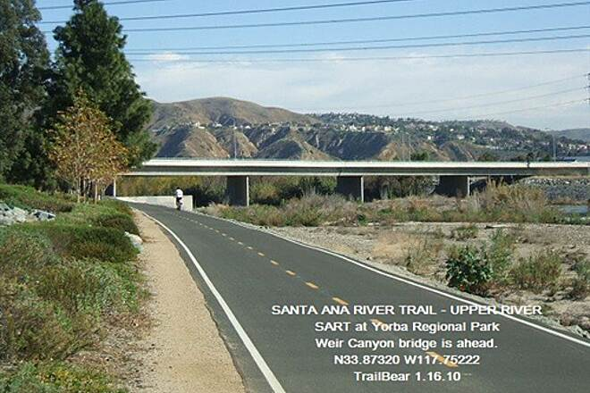 Santa Ana River Trail Santa Ana River Trail - Upper Section The trail splits under the bridge ahead