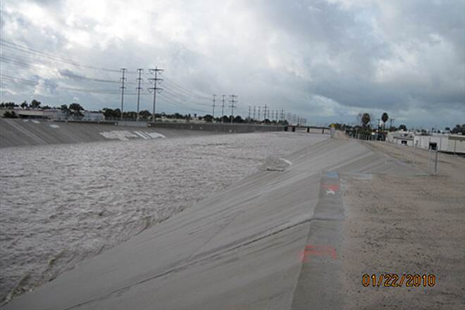 Santa Ana River Trail SART WITH WATER IN IT!  FLOOD WEEK IN THE O.C. The last one who fell in did not make it out alive.