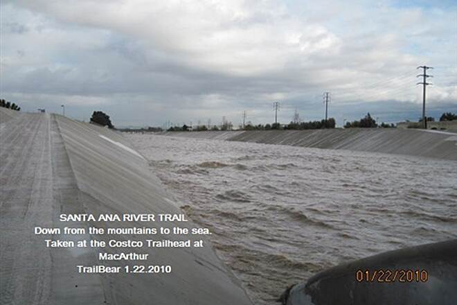 Santa Ana River Trail SART WITH WATER IN IT!  FLOOD WEEK IN THE O.C. All the way from Prado Dam and beyond.