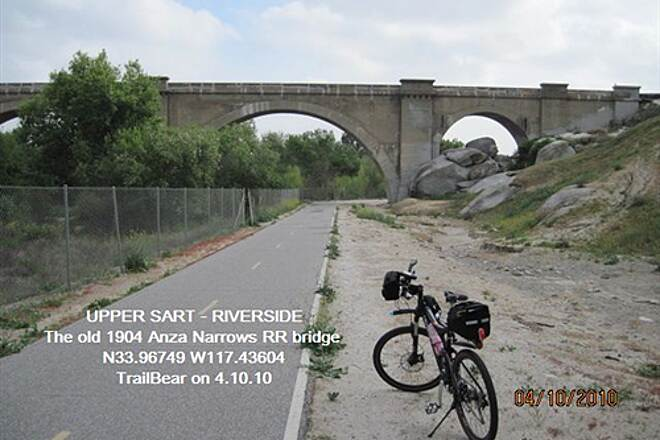 Santa Ana River Trail UPPER SART - RIVERSIDE The old RR bridge at Anza Narrows, circa 1904