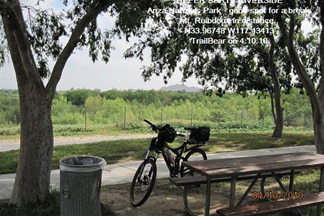 Santa Ana River Trail UPPER SART - RIVERSIDE Shady spot for a break at Anza Narrows