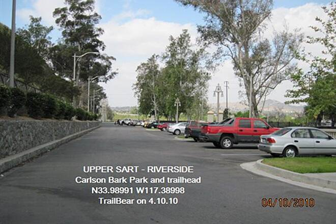 Santa Ana River Trail UPPER SART - RIVERSIDE Trailhead parking at the Bark Park.