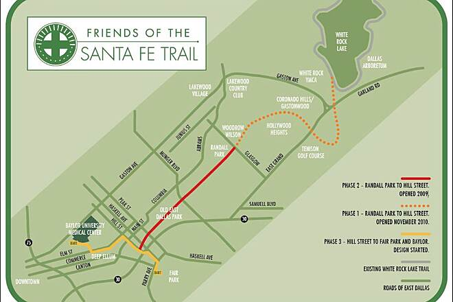 Santa Fe Trail (Dallas) Map of the Santa Fe trail