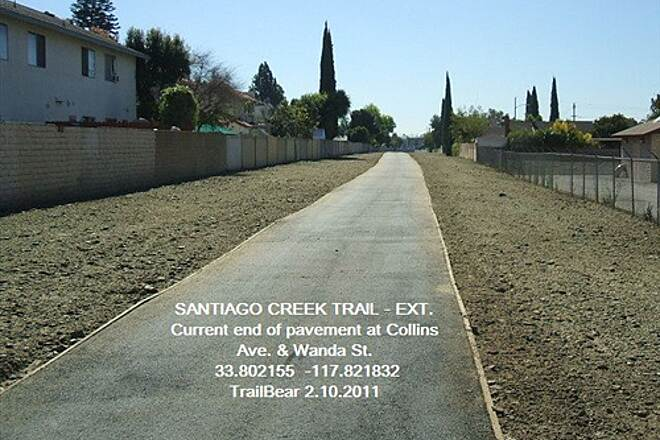 Santiago Creek Trail SANTIAGO CREEK TRAIL - THE EXTENSION The trail end at Collins & Wanda