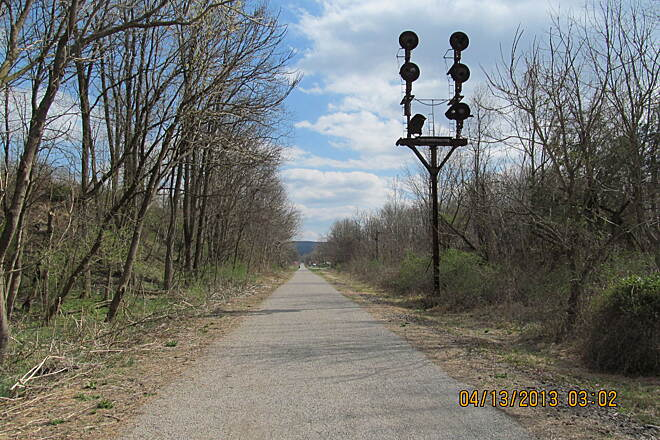 Saucon Rail Trail RR Singnal The very northern end of the trail in Hellertown
