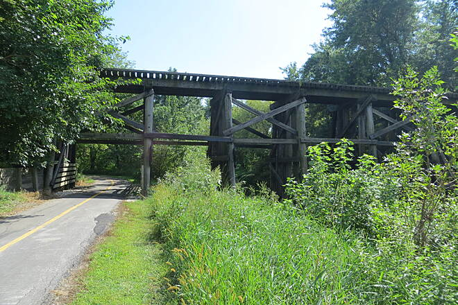 Sauk Rail Trail Trestle bridge between Breda and Carroll Photo by Laura Stark