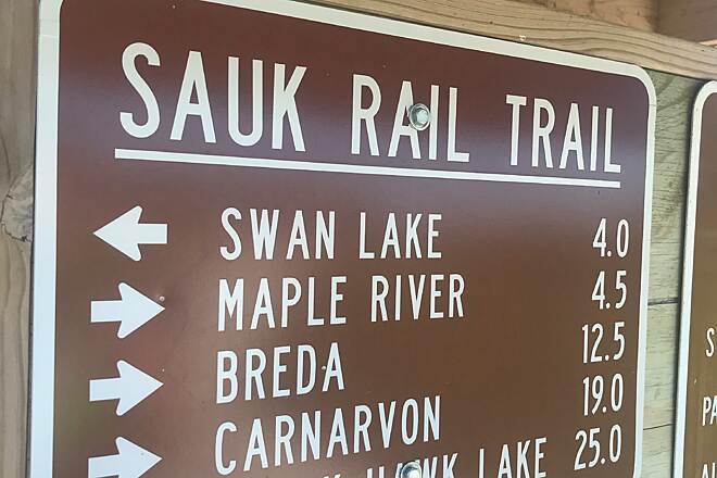 Sauk Rail Trail Houlihan Stop trail sign