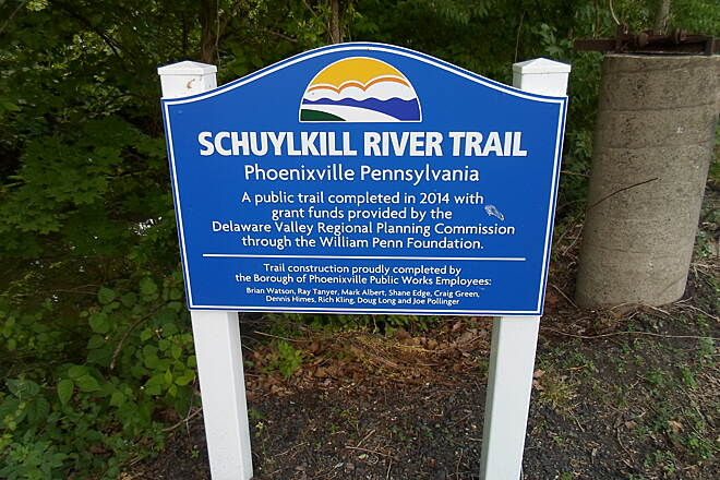 Schuylkill River Trail Schuylkill River Trail Sign marking the completion of the new segment of trail through Phoenixville's west side.