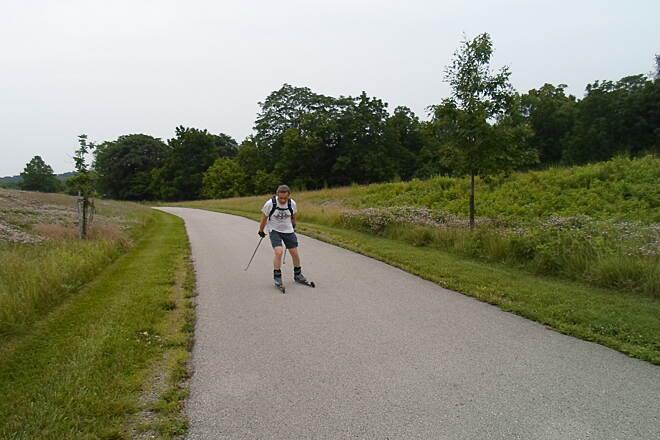 Schuylkill River Trail Schuylkill River Trail Cross-country skiing in midsummer?! This guy was riding back and forth on these along the trail in Valley Forge National Park on a warm, July evening.