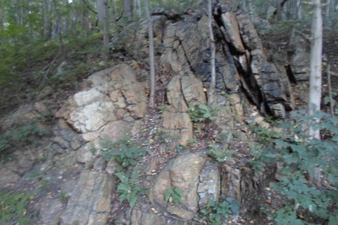 Schuylkill River Trail Bartram Trail This rock formation can be seen off the trail southeast of Port Clinton. Taken Sept. 2015.