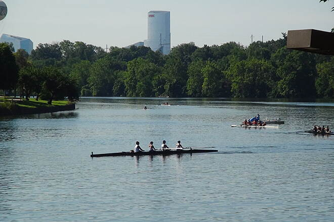 Schuylkill River Trail Rowers getting read to race A regatta was about to start.