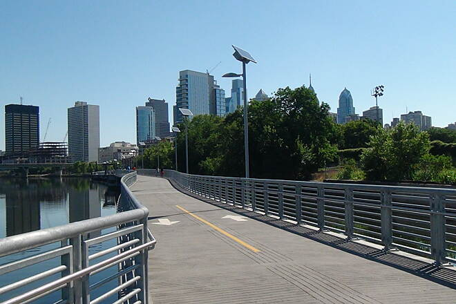 Schuylkill River Trail Schuylkill  Banks Boardwalk This is a must for people biking into Philadelphia. The view is just fantastic.