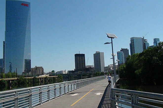 Schuylkill River Trail Schuylkill  Banks Boardwalk Another view of the boardwalk and skyline