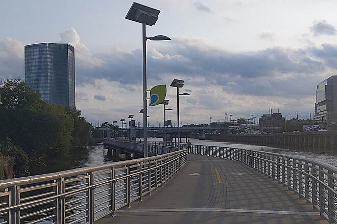 Schuylkill River Trail Schuylkill River Trail Looking south down the Schuylkill Banks Boardwalk segment of the trail, which goes out over the river on the south side of Center City. The symbol on the banner indicates that the trail is part of The Circuit.