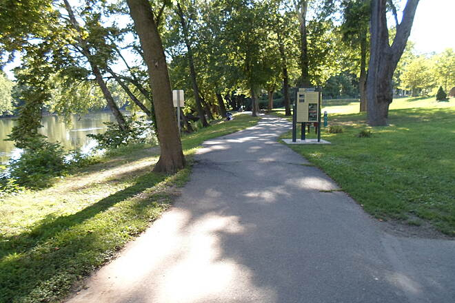 Schuylkill River Trail Thun Trail Looking west down the trail in Pottstown's Riverfront Park. Taken July 2014.