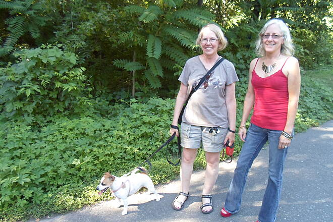 Schuylkill River Trail Thun Trail These women and their dog were enjoying a summertime stroll in Pottstown's Riverfront Park. Taken July 2014.