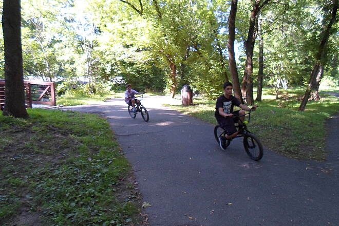 Schuylkill River Trail Thun Trail Cyclists crossing Maxatawny Creek in Pottstown on a warm summer day. Taken July 2014.