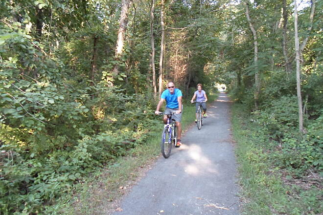 Schuylkill River Trail Thun Trail Cyclists riding east on the trail near the Douglassville trestle. Taken August 2014.