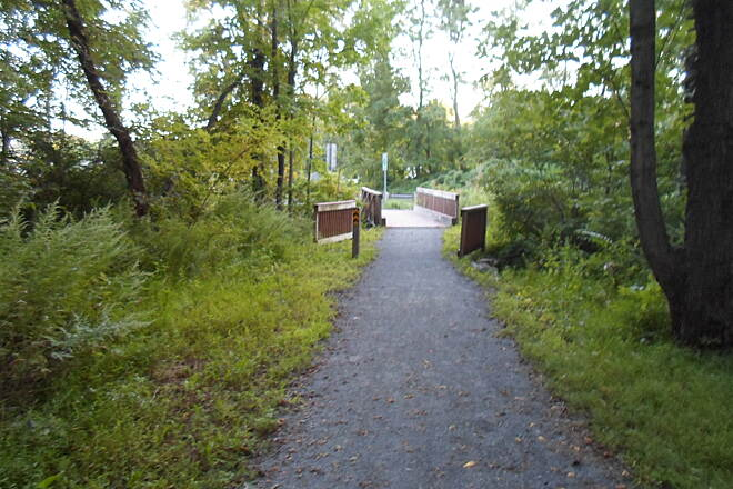Schuylkill River Trail Bartram Trail Leaving the woods and approaching Industrial Dr. on the west end of Hamburg. Taken August 2014.