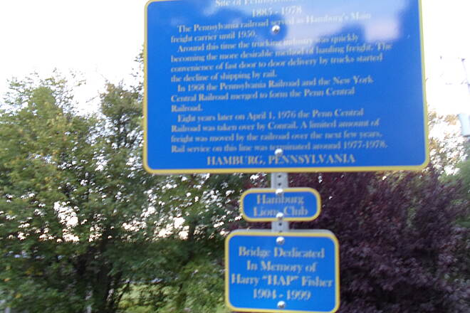 Schuylkill River Trail Bartram Trail It's difficult to read, but this blue sign in Hamburg gives the history of the Pennsylvania RR, owners of the now-defunct rail line that the Schuylkill River Trail follows for most of its route. Taken Aug. 2014.