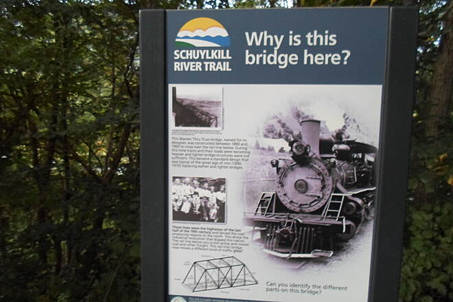 Schuylkill River Trail Bartram Trail Sign interpreting the history of the Warren Truss Bridge, north of Hamburg.