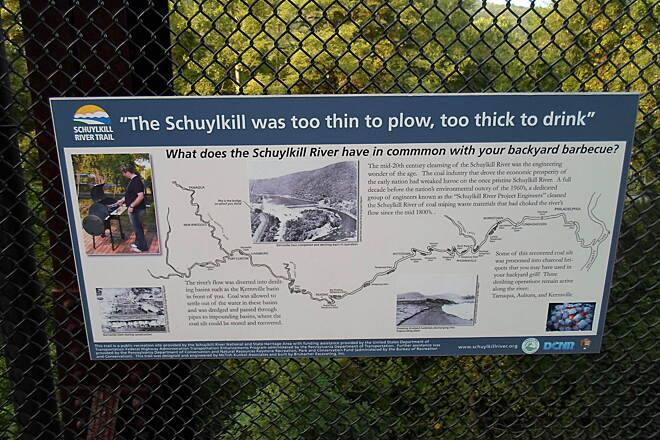 Schuylkill River Trail Bartram Trail This sign informs trail users of a sad time in the history of the nearby Schuylkill River; in the late 19th and early 20th centuries the river was polluted with coal dust from mining operations upstream. Fortunately, it has since been cleaned up.
