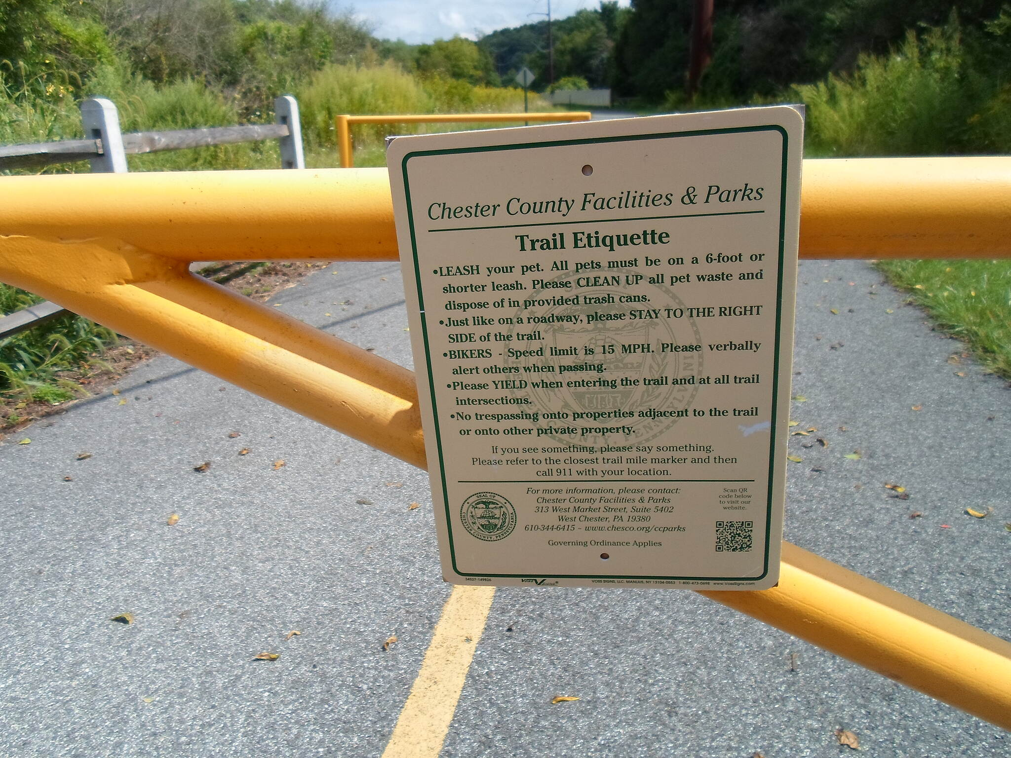 Schuylkill River Trail Schuylkill River Trail Trail rules posted on sign on the gate at the Old Schuylkill Road crossing just southeast of Parker Ford. Taken Sept. 2014.