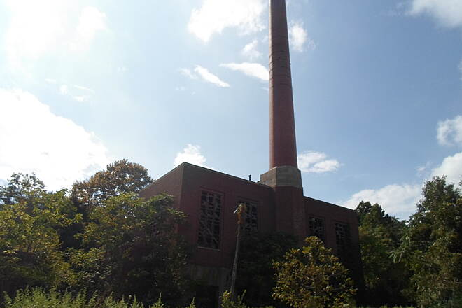 Schuylkill River Trail Schuylkill River Trail Close-up of the old factory and smokestack on Spring City's north end. Taken Sept. 2014.