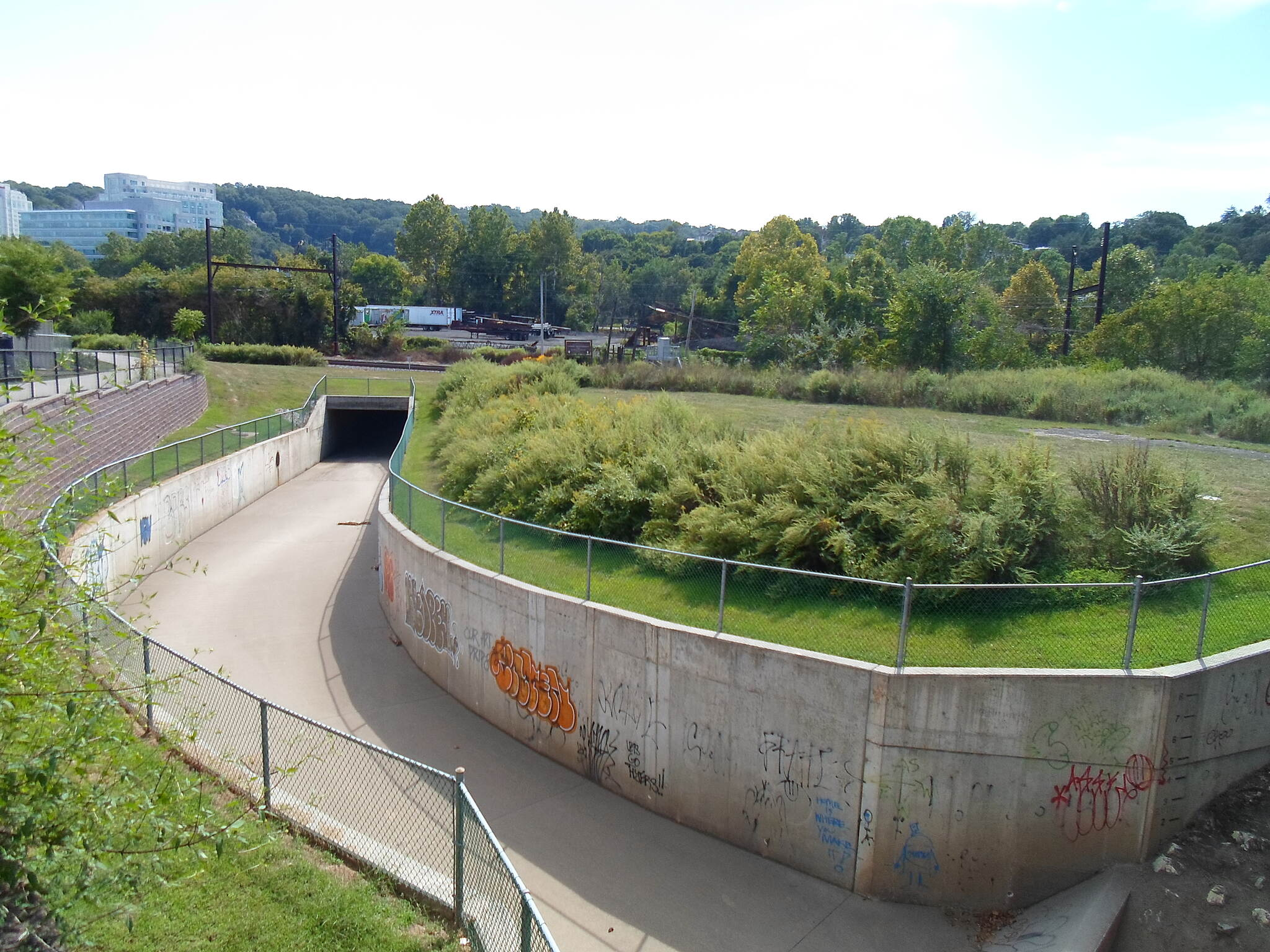 Schuylkill River Trail Schuylkill River Trail It may look like a skate park, but this concrete landmark in Conshohocken is actually a mini version of the Los Angeles River; a flood control basin designed to contain overflow water from the nearby Schuylkill. Taken Sept. 2014.