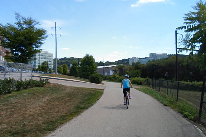 Schuylkill River Trail Schuylkill River Trail This cyclist was one of many trail users who were enjoying a sunny, late-summer day in Conshohocken in Sept. 2014.