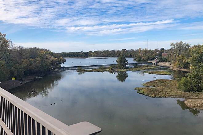 Scioto Greenway Trail Over the River . . . This view of the Greenlawn Avenue Reservoir in Scioto Audubon Metro Park comes from the bridge that carries the street with the same name over the Scioto River.  Oct 2020.