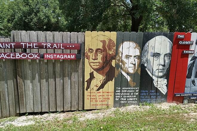 Seminole Wekiva Trail Talented artist  this is one artist who does all the painting on the trail.   Check out his facebook page 'Paint the Trail' The art work is in multiple areas along the trail