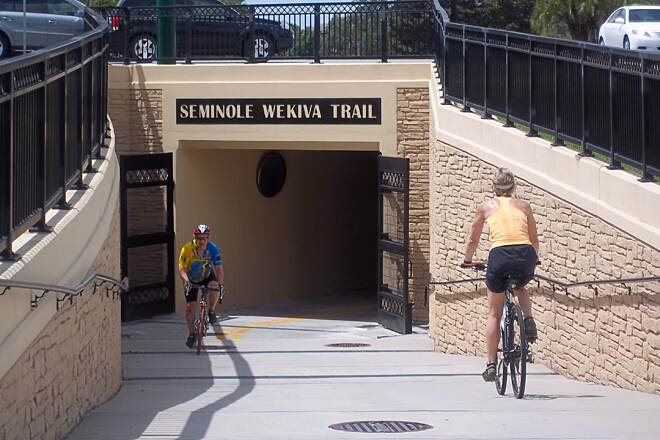 Seminole Wekiva Trail Lake Mary Blvd tunnel Crossing busy Lake Mary Blvd is easy with this bike tunnel.