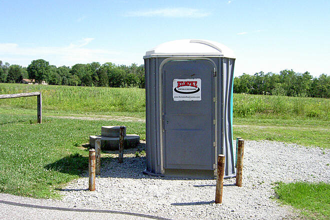 Shaker Trace Trail Outer Loop June 2015 Handicap portable toilet, notice the toilet is on the ground level for easy access